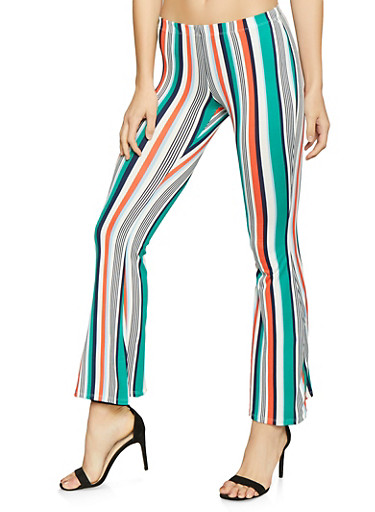 Striped Flared Pants,NAVY,large