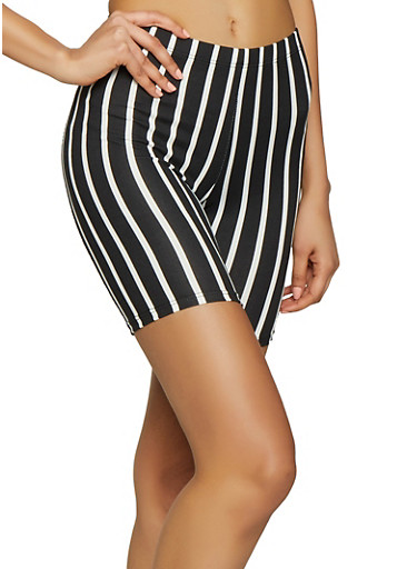 Striped Bike Shorts,BLACK/WHITE,large