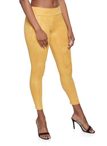 Pull On Faux Suede Pants,MUSTARD,large