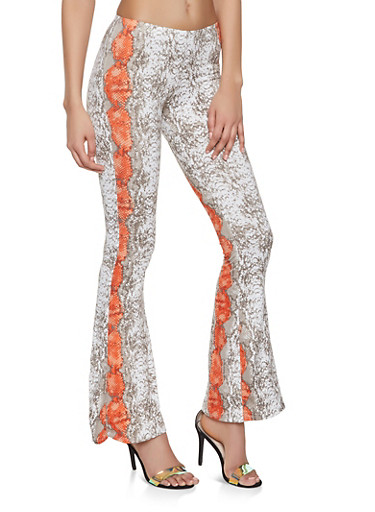 Snake Print Flared Pants,CORAL,large