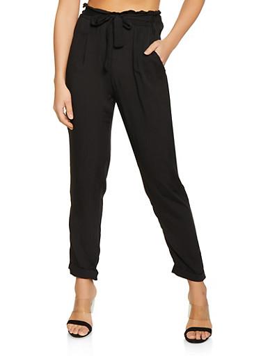 Lightweight Paper Bag Waist Pants,BLACK,large