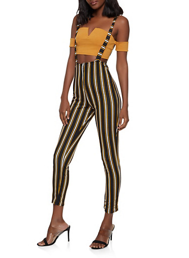 Striped Zip Front Suspender Pants,MUSTARD,large