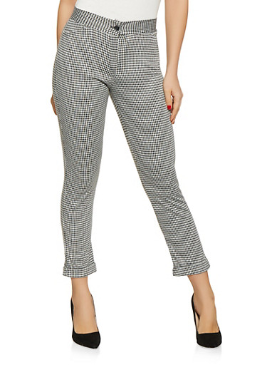 Cuffed Houndstooth Pants,BLACK/WHITE,large