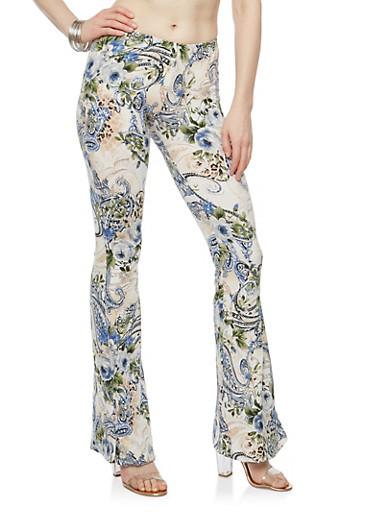 Printed Soft Knit Flared Pants | Tuggl