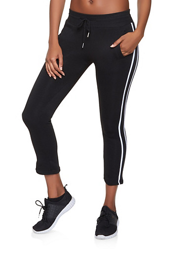 Side Stripe Fleece Lined Joggers,BLACK/WHITE,large