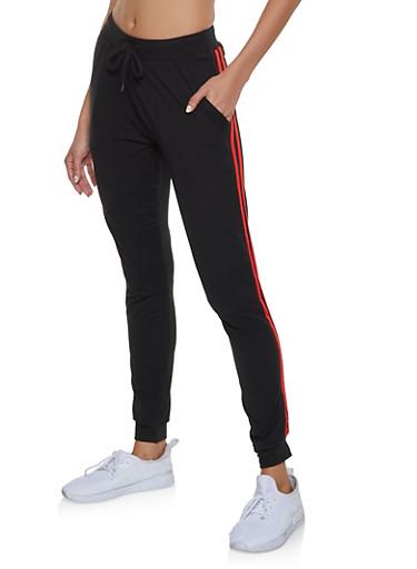 Varsity Stripe Detail Soft Knit Joggers,BLACK,large