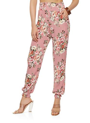 Floral Gauze Knit Joggers,PINK,large