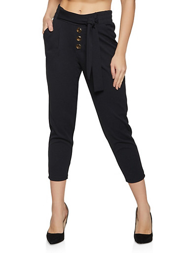 Four Button Tie Front Pants,BLACK,large