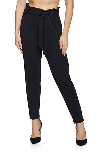 Crepe Tie Front Pants,BLACK,large