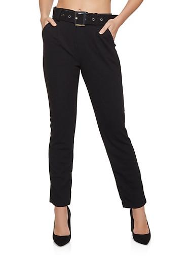 Belted Crepe Dress Pants,BLACK,large