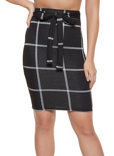 Plaid Tie Front Pencil Skirt,BLACK,large