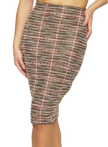 Lurex Tweed Midi Pencil Skirt,BROWN,large