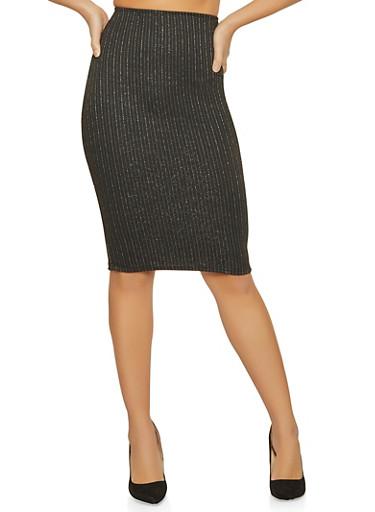 Shimmer Striped Pencil Skirt,BLACK,large