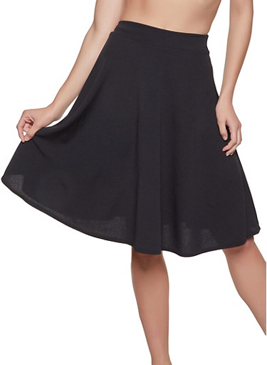Solid Skater Skirt,BLACK,large