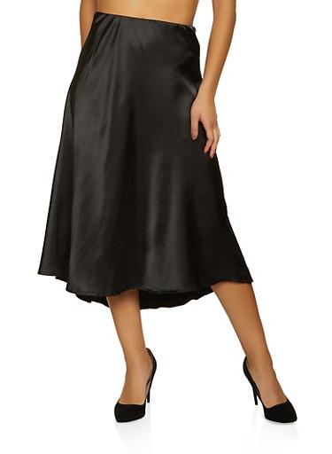 Solid Satin Skater Skirt,BLACK,large