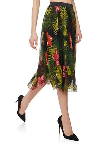 Floral Mesh Midi Skirt,BLACK,large