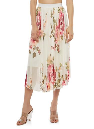 Floral Mesh Midi Skirt,PEACOCK DAHLIA,large