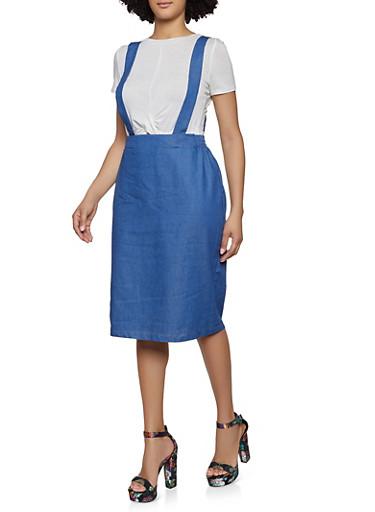 Chambray Suspender Skirt,MEDIUM WASH,large
