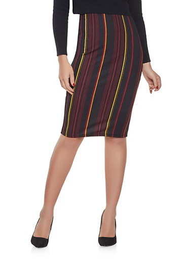 Striped Pencil Skirt,BLACK,large