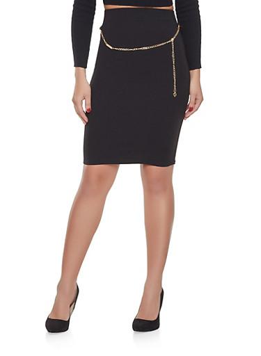 Chain Detail Pencil Skirt,BLACK,large