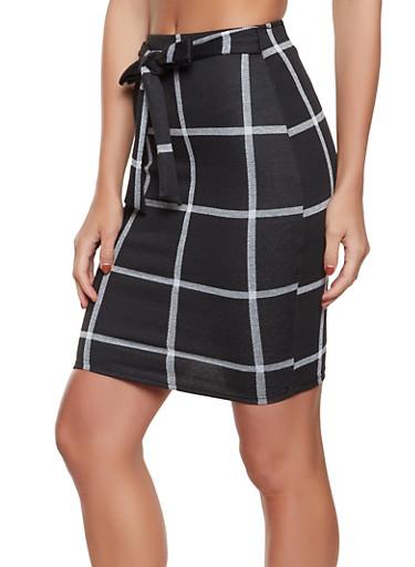 Tie Front Plaid Midi Skirt,BLACK/WHITE,large