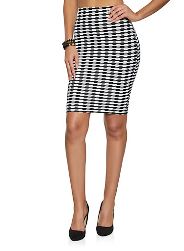 Printed Pencil Skirt,BLACK/WHITE,large
