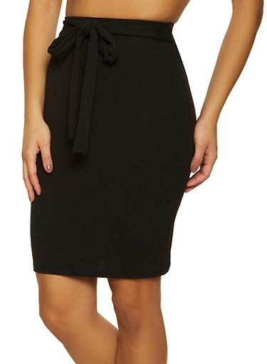 Crepe Tie Front Pencil Skirt,BLACK,large