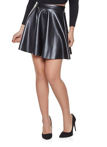 Faux Leather Mini Skater Skirt,BLACK,large