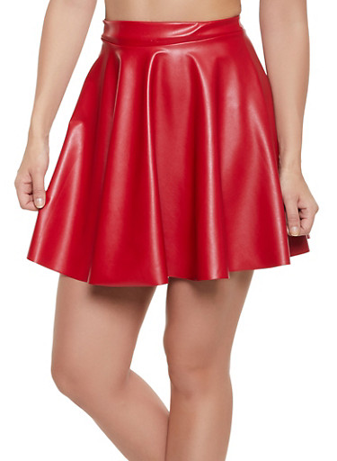Mini Faux Leather Skater Skirt,RED,large