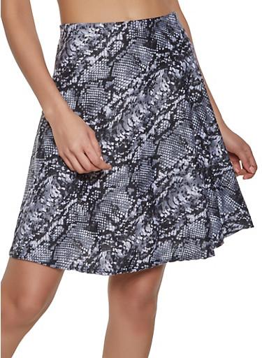 Snake Print Skater Skirt,GRAY,large