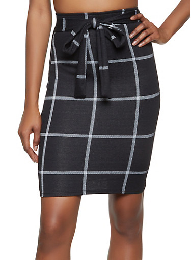 Plaid Tie Front Pencil Skirt,BLACK/WHITE,large