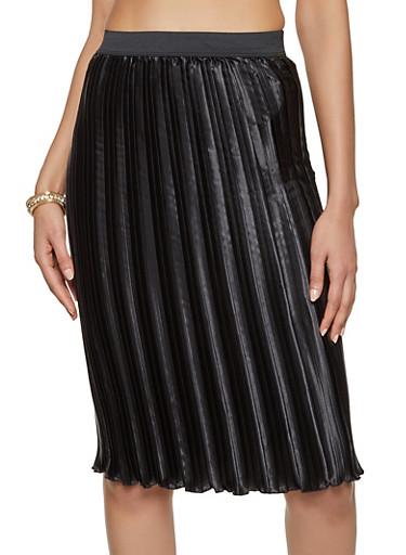 Satin Pleated Pencil Skirt,BLACK,large