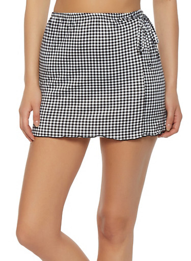 Checkered Mini Skirt,BLACK/WHITE,large