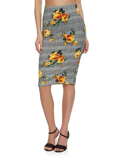 Printed Scuba Knit Pencil Skirt | Tuggl