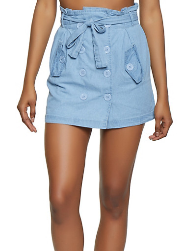Button Front Denim Mini Skirt,LIGHT WASH,large
