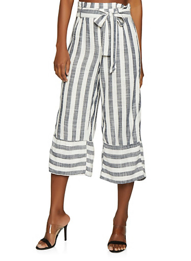 Striped Paper Bag Waist Linen Pants,WHITE/BLUE,large