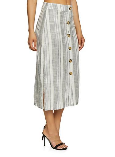 Striped Linen Button Skirt,WHT-BLK,large