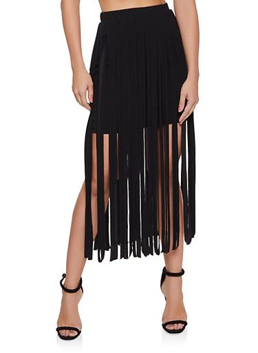 Fringe Shorts,BLACK,large