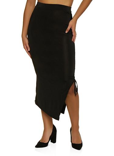 Ruched Drawstring Skirt,BLACK,large