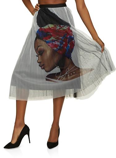 Afro Girl Tulle Pleated Skater Skirt,WHITE,large