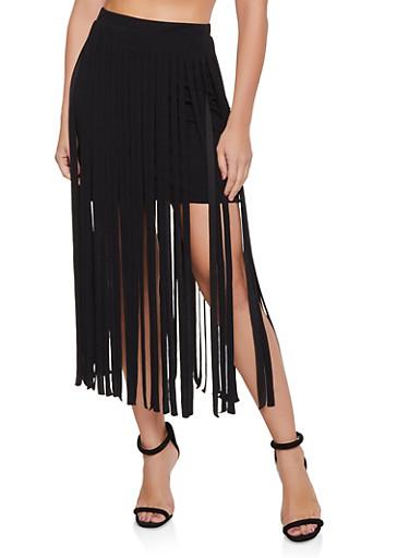 Fringe Skirt,BLACK,large