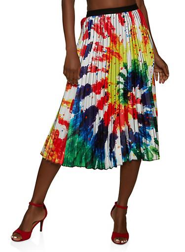 Paint Splatter Print Skater Skirt,BLUE,large