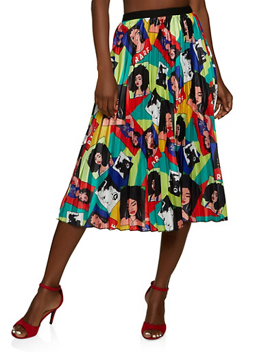Face Graphic Print Pleated Skirt,YELLOW,large