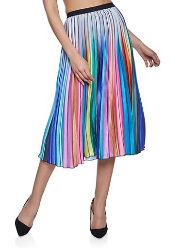 Multi Color Pleated Midi Skirt,SILVER,large