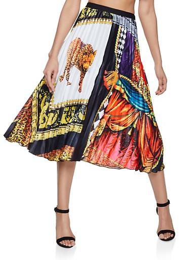 Mixed Print Pleated Midi Skirt,BLACK,large