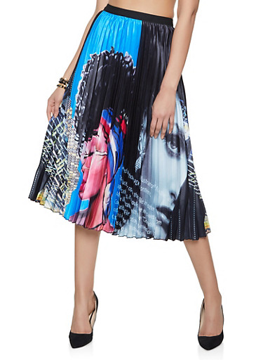 Face Graphic Pleated Skirt,RYL BLUE,large