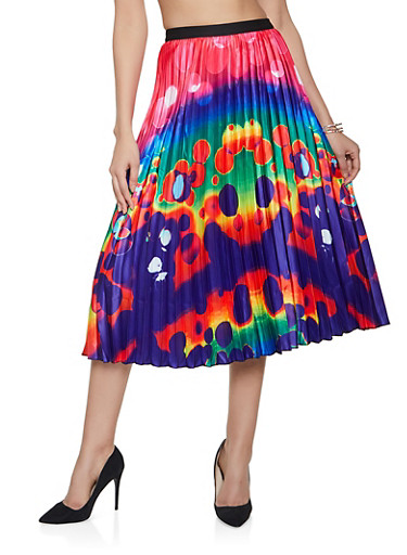 Tie Dye Pleated Skirt,PURPLE,large
