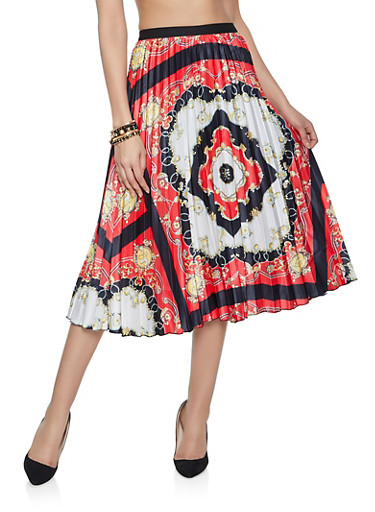Printed Pleated Skirt,RED,large