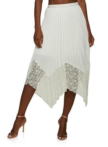 Lace Hem Pleated Asymmetrical Skirt,IVORY,large