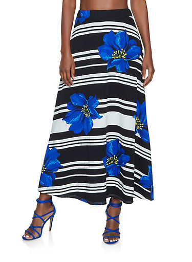 Floral Striped Maxi Skater Skirt,RYL BLUE,large